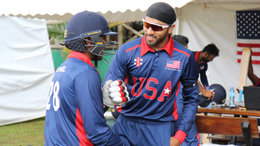 Jessy Singh gives Sagar Patel encouragement as he gets ready to debut