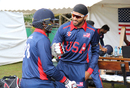 Jessy Singh gives Sagar Patel encouragement as he gets ready to debut, Oman v USA, ICC World Cricket League Division Three, Entebbe, May 23, 2017
