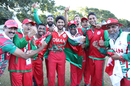 Oman celebrates Aqib Ilyas' performance in victory, Oman v USA, ICC World Cricket League Division Three, Entebbe, May 23, 2017