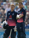 Joe Root and Alex Hales take a breather during their second-wicket stand, England v South Africa, 1st ODI, Headingley, May 24, 2017