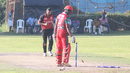 Satsimranjit Dhindsa bowls Munis Ansari to end the match, Canada v Oman, ICC World Cricket League Division Three, Kampala, May 24, 2017