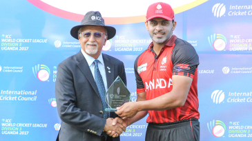 Dev Govindjee presents Rizwan Cheema with another Man of the Match award