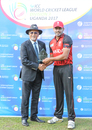 Dev Govindjee presents Rizwan Cheema with another Man of the Match award, Canada v Oman, ICC World Cricket League Division Three, Kampala, May 24, 2017