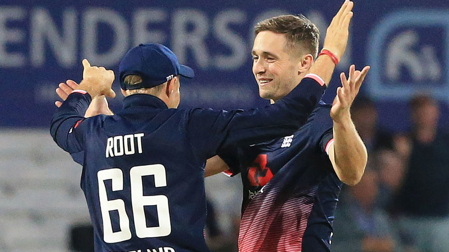 Chris Woakes finished with a four-wicket haul