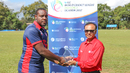 Steven Taylor accepts the Man of the Match award, Malaysia v USA, ICC World Cricket League Division Three, Kampala, May 24, 2017
