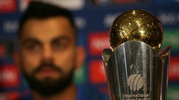 The ICC Champions Trophy, with India captain Virat Kohli in the background
