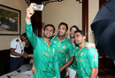 Shoaib Malik, Wahab Riaz, Anwar Ali and Umar Akmal take a selfie, World T20, Kolkata, March 14, 2016