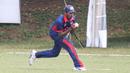 Mrunal Patel holds on to a catch at fine leg to dismiss Selladore Vijayakumar, Singapore v USA, ICC World Cricket League Division Three, Kampala, May 26, 2017