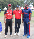 Canada captain Nitish Kumar and his counterpart USA's Steven Taylor at the toss, Canada v USA, ICC World Cricket League Division Three, Kampala, May 27, 2017
