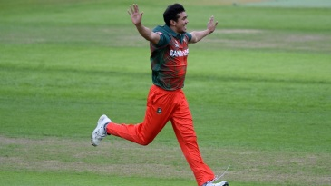 Taskin Ahmed exults after taking a wicket