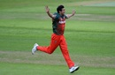 Taskin Ahmed exults after taking a wicket, Bangladesh v Pakistan, Champions Trophy warm-ups, Birmingham, May 27, 2017