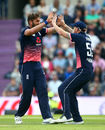 Liam Plunkett claimed the vital wicket of AB de Villiers, England v South Africa, 2nd ODI, Ageas Bowl, May 27, 2017