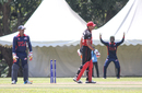 Rizwan Cheema is bowled for a second-ball duck, Canada v USA, ICC World Cricket League Division Three, Kampala, May 27, 2017