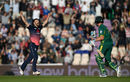 Mark Wood celebrates the moment of victory after defending seven runs in the final over, England v South Africa, 2nd ODI, Ageas Bowl, May 27, 2017