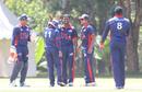 Mrunal Patel gets a high five after bowling Rizwan Cheema, Canada v USA, ICC World Cricket League Division Three, Kampala, May 27, 2017