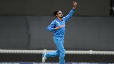 Ravindra Jadeja wheels away after taking a wicket