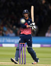 Spot the ball: Toby Roland-Jones pulls during his unbeaten 37, England v South Africa, 3rd ODI, Lord's, May 29, 2017