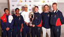 Indian recipients of the Border-Gavaskar scholarships - SS Das, Sridharan Sriram and Mohammad Kaif - pose with Michael Clarke, Greg Blewett and Wayne Phillips, Adelaide, June 27, 2000