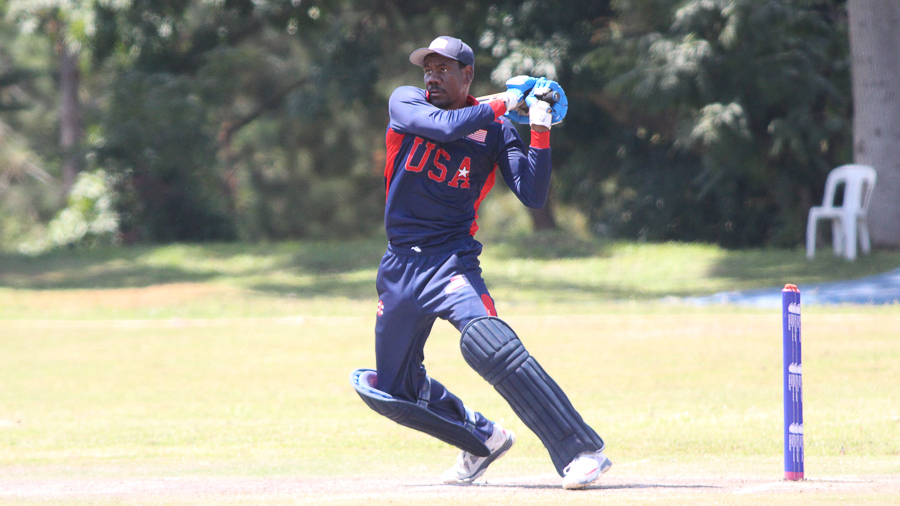 Elmore Hutchinson pulls a boundary to reach a half-century in 49 balls