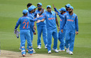 India get together after one of Umesh Yadav's three early strikes, Bangladesh v India, Champions Trophy, warm-ups, The Oval, May 30, 2017