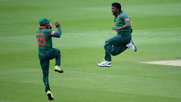 Rubel Hossain is ecstatic after bowling Rohit Sharma