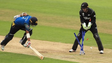 A direct hit from Trent Boult accounted for Kusal Mendis' wicket