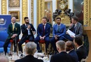 Suit up: AB de Villiers, Virat Kohli, Eoin Morgan and Mashrafe Mortaza at the Champions Trophy dinner, Lancaster House, London, May 30, 2017