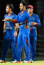 Mohammad Nabi celebrates a wicket with his team-mates, WICB President's XI v Afghanistan, warm-up T20I, St Kitts, May 30, 2017