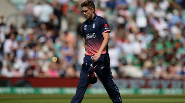 Chris Woakes left the field after bowling two overs