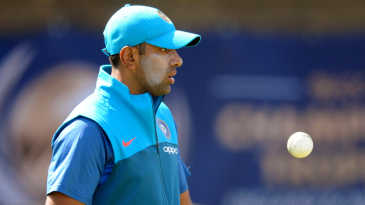 R Ashwin prepares to bowl during a nets session