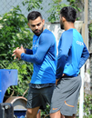 Virat Kohli discusses a shot with Dinesh Karthik, Champions Trophy, Birmingham, June 1, 2017