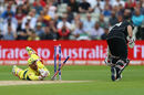 Luke Ronchi was reprieved as Matthew Wade's sliding attempt to remove the bails was off-target, Australia v New Zealand, Champions Trophy, Group A, Edgbaston, June 2, 2017