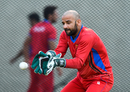Shafiqullah hones his glovework during a training session, West Indies v Afghanistan, St. Kitts, June 1, 2017