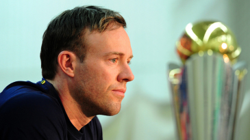 AB de Villiers, with the Champions Trophy in the foreground