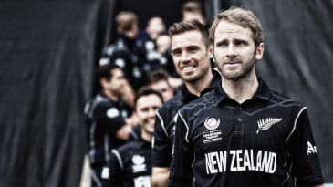 Kane Williamson leads his team out