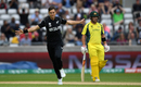Trent Boult of New Zealand celebrates the wicket of David Warner, Australia v New Zealand, Champions Trophy, Group A, Edgbaston, June 2, 2017