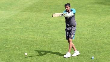 Shoaib Malik has a hit during Pakistan's training session on match eve