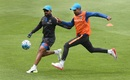 Dinesh Karthik and Ravindra Jadeja engage in some football, India v Pakistan, Champions Trophy, Group B, Birmingham, June 3, 2017