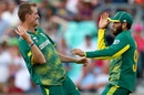 Chris Morris and Imran Tahir celebrate the run out of Suranga Lakmal, South Africa v Sri Lanka, Champions Trophy, Group B, The Oval, June 3, 2017