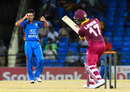 Karim Janat grimaces after beating Evin Lewis outside off, West Indies v Afghanistan, 2nd T20I, St Kitts, June 3, 2017