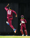 Kesrick Williams leaps up in celebration after dismissing Samiullah Shenwari, West Indies v Afghanistan, 2nd T20I, St Kitts, June 3, 2017