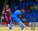 Dawlat Zadran brings the bat down too late against Jerome Taylor's yorker, West Indies v Afghanistan, 2nd T20I, St Kitts, June 3, 2017