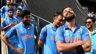 Virat Kohli, MS Dhoni and Jasprit Bumrah share a laugh