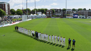 Sussex and Worcestershire observe a minute's silence at Hove in honour of those killed and injured in a London terrorist attack