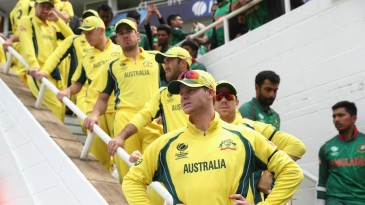 Steven Smith prepares to lead his team out