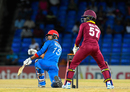 Noor Ali Zadran's bat slips out of his bottom hand as he sweeps, West Indies v Afghanistan, 3rd T20I, St Kitts, June 5, 2017