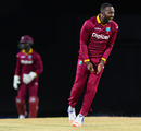 Kesrick Williams lets out a roar after completing a three-for, West Indies v Afghanistan, 3rd T20I, St Kitts, June 5, 2017