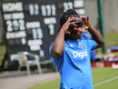 Deandra Dottin fixes her protective face mask during a training session, Women's World Cup, Hampshire, June 4, 2017