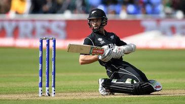 Kane Williamson limbos out of the way of a bouncer