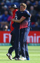 Jake Ball gets a hug after removing Ross Taylor, England v New Zealand, Champions Trophy 2017, Cardiff, June 6, 2017